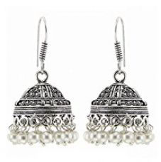 Buy Kaizer High Quality German Silver Jhumki Earring for Women / Girls (Gift)-Ds - 206 from Amazon