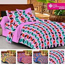 Casa Copenhagen- Basic 144 Thread Count 100% Cotton Double Bedsheet With 2 Pillow Cover- Purple,Red,Blue & White for Rs. 499