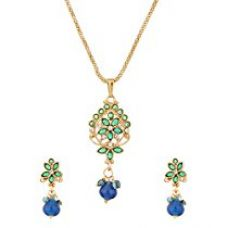 Voylla Floral Gold Toned Pendant Set With Chain For Women for Rs. 149