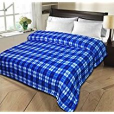 Buy Christy's Collection Super Soft Printed Cotton Blend AC Double Blanket - Blue from Amazon