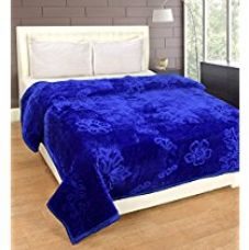 Warmland Mink Embossed Solid Polyester Double Blanket - Blue for Rs. 2,200