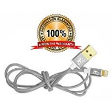 R&G GOLD PLATED Iphone, Ipad & Ipod Fast Charging Pure Copper Metallic 1.2m Braided Charging & Data Cable - Silver for Rs. 999