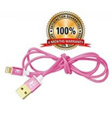 R&G GOLD PLATED Iphone, Ipad & Ipod Fast Charging Pure Copper Metallic 1.2m Braided Charging & Data Cable - Pink for Rs. 999