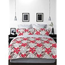 Buy Welhome La-Piazza 130 TC Cotton Double Bedsheet with 2 Pillow Covers - Red from Amazon