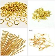 AM Jewelry findings gold -pack of headpins & eyepins,jump rings,ear hook clasps for Rs. 199