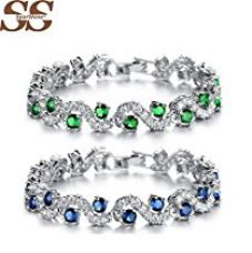 Yellow Chimes Rich Royal Blue Crystal High Grade CZ Chain Silver Bracelet For Women and Girls. Perfect to Gift! for Rs. 527