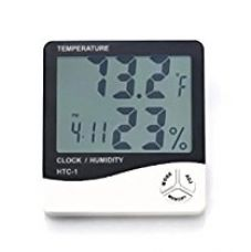Buy Temperature Humidity Time Display Meter with Alarm Clock, Wall Mount or Table Top, Multicolour from Amazon