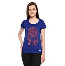 Buy Adro Women's Round Neck Cotton T-Shirt (Royal Blue)(RN1-W-DRM-RB-XS) from Amazon