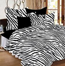 Casa Copenhagen Basics- Ezy Collection,144 Thread Count Standard Cotton Solid,Floral,Geometric Double Bedsheet With 2 Pillow Cover- Black & White for Rs. 499