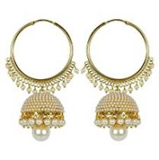 Buy Royal Bling Bollywood Inspired Stylish Party Wear Gold Plated Traditional Pearl Polki Hoop Earrings/jewellery For Girls/Women from Amazon