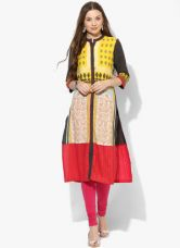Buy W Yellow Printed Kurta from Jabong