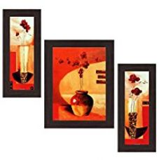 Wens Make it Up with Flowers MDF Wall Art (14.5 cm x 29 cm x 1 cm, Set of 3, WSP-4146) for Rs. 625