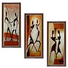 Buy Wens People MDF Wall Art (43 cm x 18 cm x 1 cm, Set of 3) from Amazon