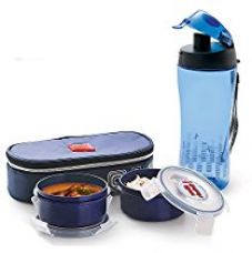 Buy Cello Squash Plastic Lunch Box with Bag Set, 5-Pieces, Blue from Amazon