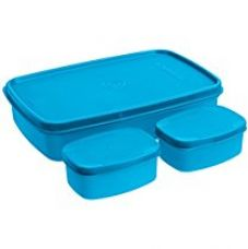 Buy Signoraware Compact Lunch Box Set, 850ml, 3-Pieces, T Blue from Amazon
