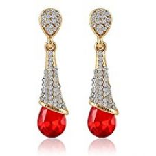 Crunchy Fashion Trendy Stylish and Fancy Party Wear Crystalline Drops Red Earrings for Girls and Women for Rs. 390