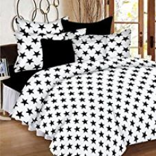 Casa Basic 144 Thread Count Double Bedsheet With 2 Pillow Cover- Black & White for Rs. 499