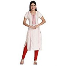 Buy Indi Dori Women Cotton Cream Lined Print Yoke Short Sleeve Kurti(10005080_Cream_Medium) from Amazon