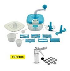 Buy Floraware 14-Piece Manual Food Processor & 14-Piece Kitchen Press Combo, Blue from Amazon