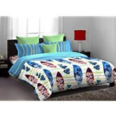 Buy Home Expression USA Lorrian Abstract Cotton Single Bedsheet with 1 Pillow Cover - Multicolor from Amazon