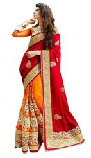 Buy Vatsla Enterprise Women'S Georgette With Blouse Piece( Orngkldp, Orange And Red ,Free Size) from Amazon