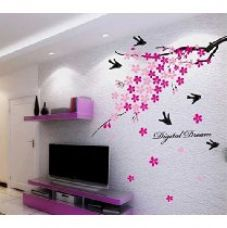 Decals Design 'Flower Branch with Birds' Wall Sticker (PVC Vinyl, 50 cm x 70 cm) for Rs. 139