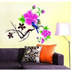 Buy Decals Design 'Design Blue Birds with Flowers' Wall Sticker for Rs. 109
