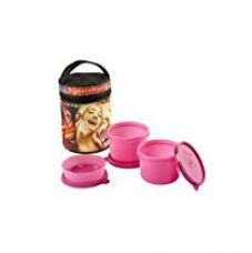 Signoraware Jazz Executive Medium Lunch Box with Bag Set, 3-Pieces, Pink for Rs. 620