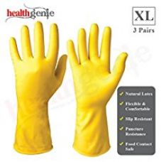 Healthgenie Flocklined Household Multi-Purpose Glove, Extra Large (3 Pairs) for Rs. 150