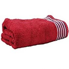 Trident 450 GSM Candy Strips Medium Bath Towel- Red for Rs. 299