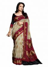 Buy Jaanvi Fashion Beige Bhagalpuri Cotton Printed Saree for Rs. 699