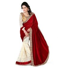 Buy Fancy Designer Sarees Bollywood Embriodered Velvet Sari With Heavy Blouse Piece from Voonik