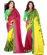 Flat 32% off on Jaanvi Fashion Pink And Yellow Two IN One