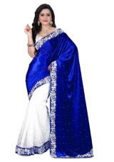 Flat 45% off on Jaanvi Fashion Blue Velvet And Net Jacquard Embellished Saree