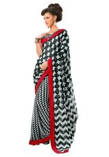Buy Jaanvi Fashion Printed Lace Work Saree from Voonik