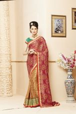 Flat 50% off on Jaanvi Fashion Bandhani Maroon Border Work Crepe Saree