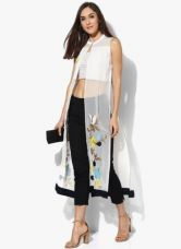 Buy W White Printed Crepe Blouse for Rs. 1000