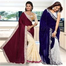 Fancy Designer Sarees Bollywood Unique Combo Velvet  Half N Half Brasso Saree With Blouse Piece for Rs. 1599