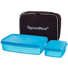 Signoraware Compact Small Lunch Box with Bag, T Blue for Rs. 310
