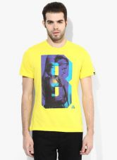 Adidas B&B Workout Yellow Printed Round Neck T-Shirt for Rs. 700