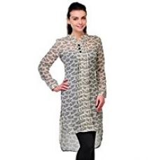 Buy Cenizas Women's Georgette Kurti (KURTIS/9039/BLK/M_Black) from Amazon