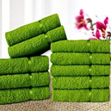 Buy Story@Home Solid 10 Piece 450 GSM Cotton Face Towel Set - Green for Rs. 299