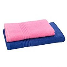 HomeStrap Classic Bath Towel Set -Blue & Pink - Pack of 2 for Rs. 499