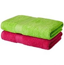 Solimo 2 Piece 500 GSM Cotton Bath Towel Set - Spring Green and Paradise Pink for Rs. 729