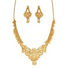 Buy Variation Traditional 22K Gold Plated Necklace Set With Earrings - VD14630 from Amazon
