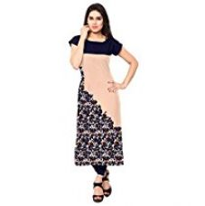 ZIYAA Women's Straight Crepe Kurta (ZIKUCR186-L_Beige) for Rs. 411
