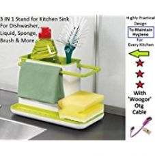 Buy Woogor 3 IN 1 Stand for Kitchen Sink for Dishwasher Liquid, Brush, Sponge, Soap Bar And More...With One