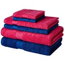 Solimo 100% Cotton 6 Piece Towel Set, 500 GSM (Iris Blue and Paradise Pink) for Rs. 849