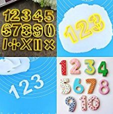 Buy 14 Piece Cookie Plunger Yellow Plastic Mathematical Number Biscuit Pastry Cookie Cutter Set by kurtzyTM from Amazon