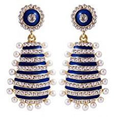 Buy Peora Glossy Striped Party Wear Pearl Danglers For Girls & Women (Blue) from Amazon